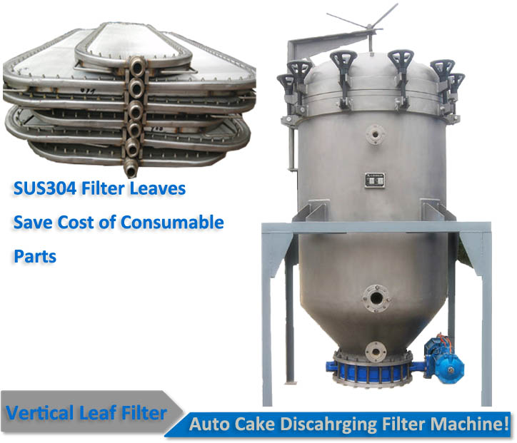 Auto cake discharging oil refinery filter industrial leaf filter