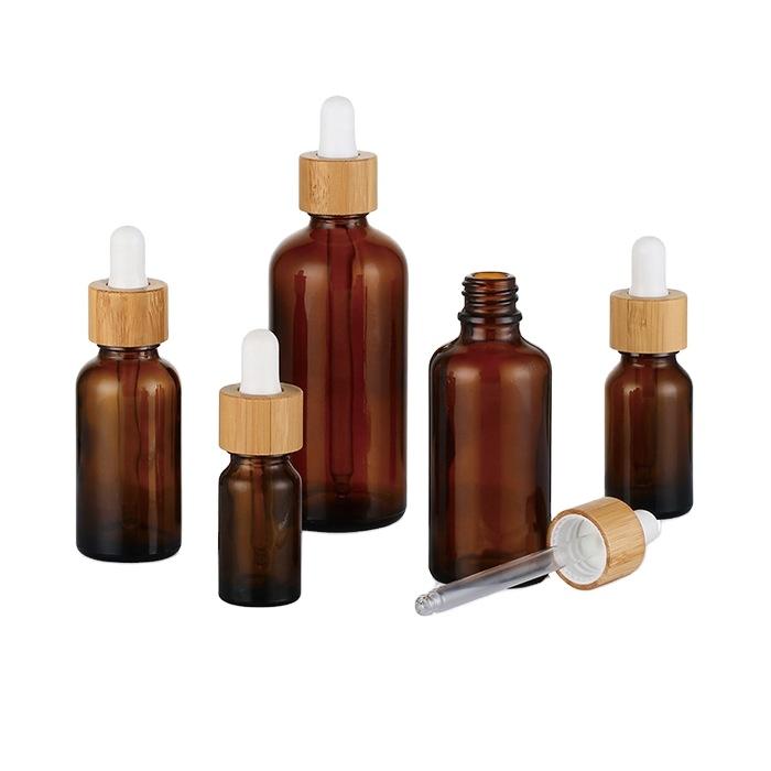 High-end Essential oil bamboo inner amber glass dropper bottle packaging