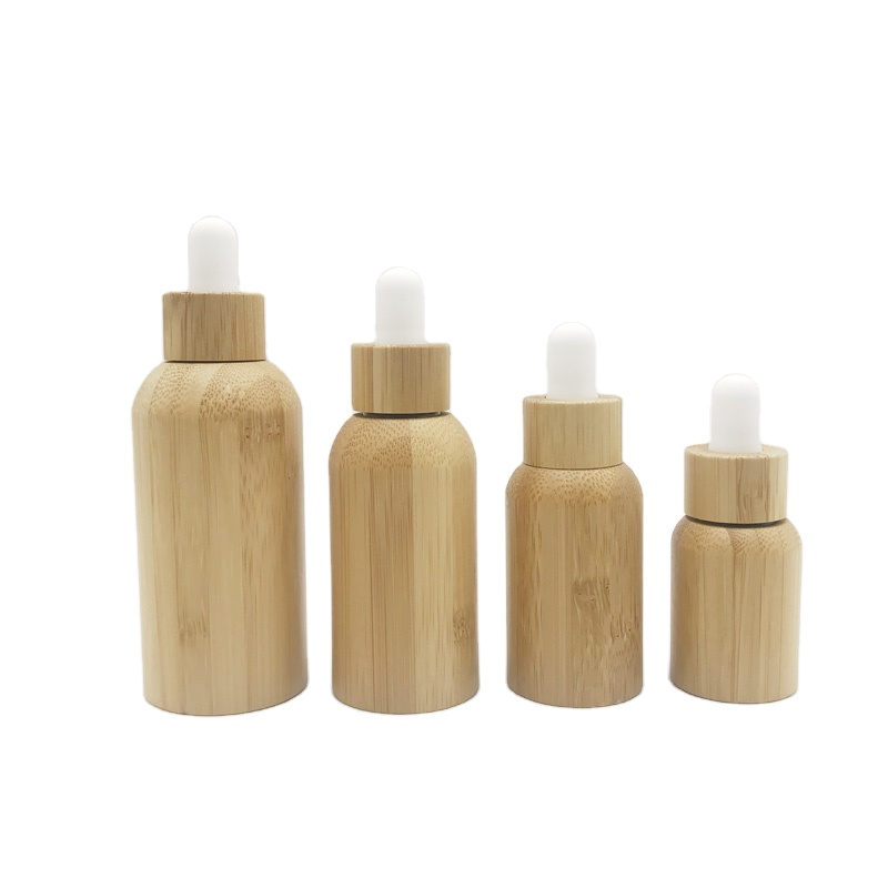 Biodegradable Wooden Cream Jars And Bottles Natural Luxury Bamboo Cosmetic Packaging