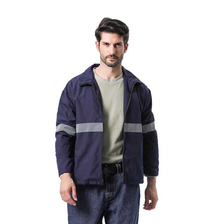100% cotton zipper style FR jacket with reflective tape