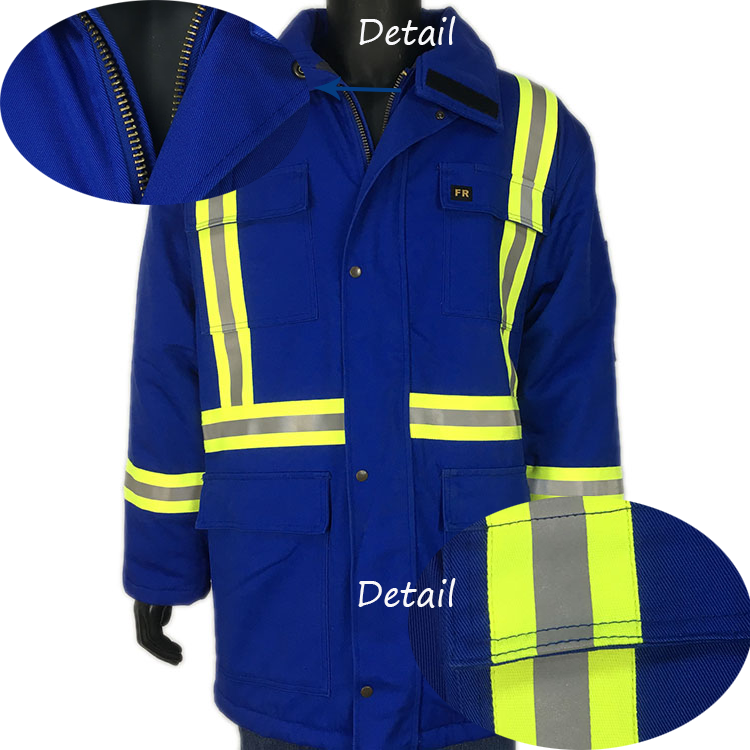 100% cotton safety winter jacket with fire retardant function